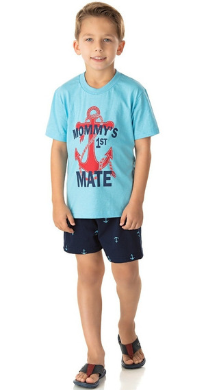 Pijama Infantil Menino Conjunto Camiseta Meia Manga E Short