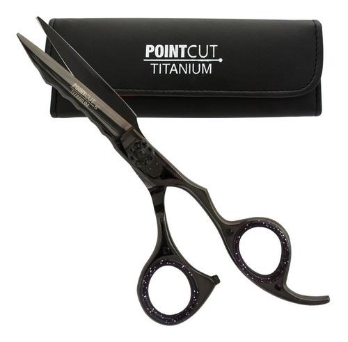 Tijera Barberia Microdentada Corte Pointcut Titanio Black 6