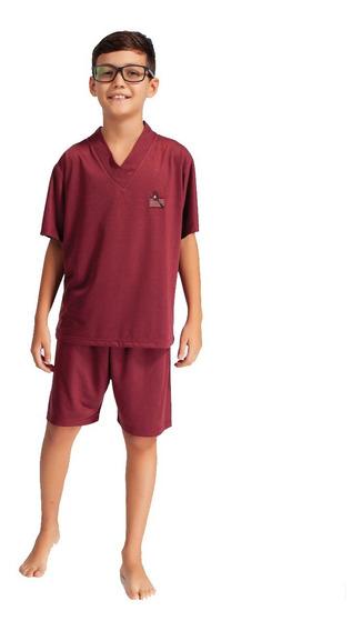 3 Pijamas Camisa Meia Manga Short Estampado E Liso Masculino Infantil