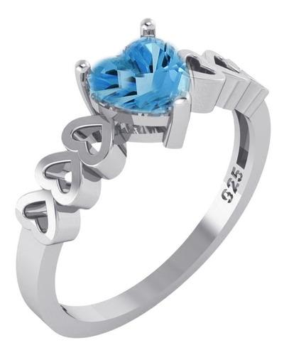 Imagem 1 de 8 de Anel Luxo Pura Prata 925 Topázio Azul Coração - Exclusivo