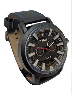 Relojes Time Hombre Malla Cuero Agente Of Liniers
