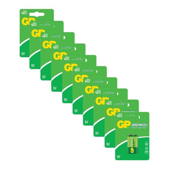 10 Pilhas Gp Batteries Greencell Zinco Carvão 9v 1604g-c1x10