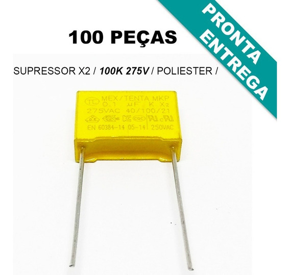 Capacitor Supressor X2 Poliester 100k * 100nf * 275v * 0,1uf