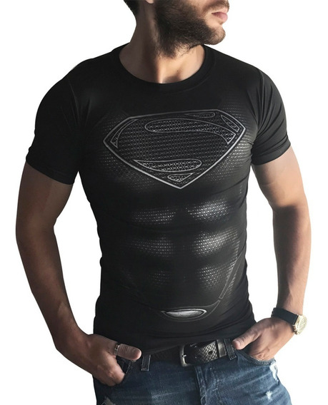Remera Slim Fit Traje Superman Ranwey As0021 (al Cuerpo)