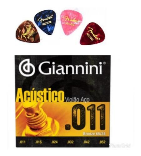 Imagem 1 de 3 de Corda Giannini Violão Aço 011 E 4 Palhetas Fender