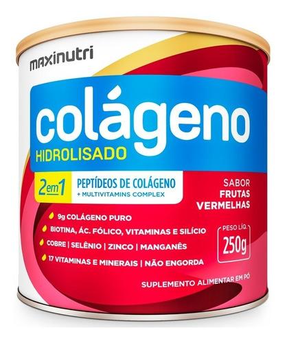 Colageno Hidrolisado 2em1 Frutas Vermelhas 250g Maxinutri