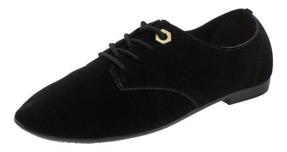 Sapato Feminino Oxford Beira Rio - 4150222 Preto/camurça