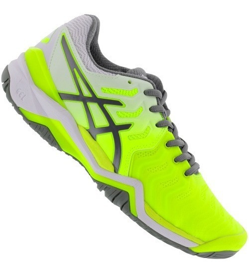 Tenis Asics Gel Resolution 7 Clay - Verde Limão E Cinza