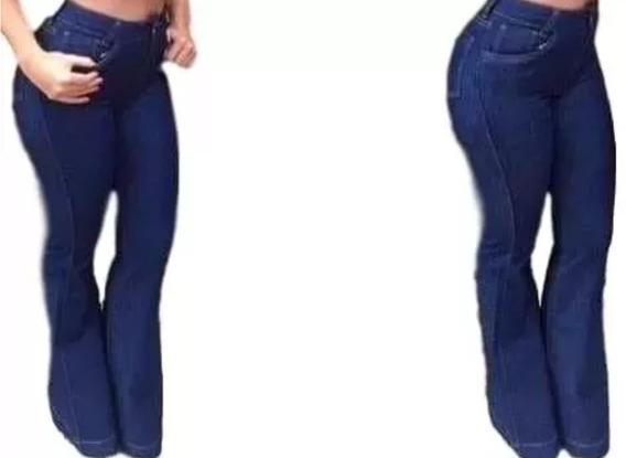 Calca Jeans Feminina Cintira Alta Flare Cós Alto Panicat