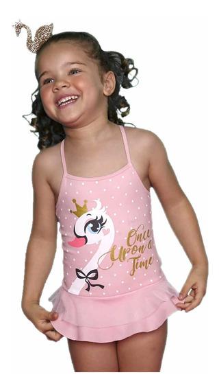 Maiô Infantil Cisne Rosa Bebê Com Tule Puket