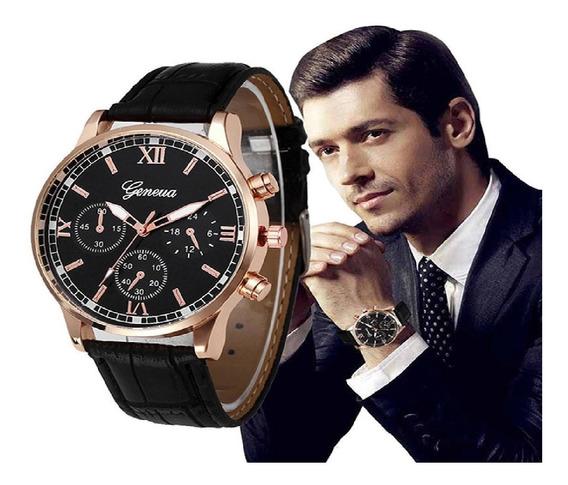 Relógio Masculino Geneva De Luxo Pulso De Couro Promoção.