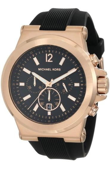 Relógio Michael Kors Mk8184 Preto E Rose Oversize Completo