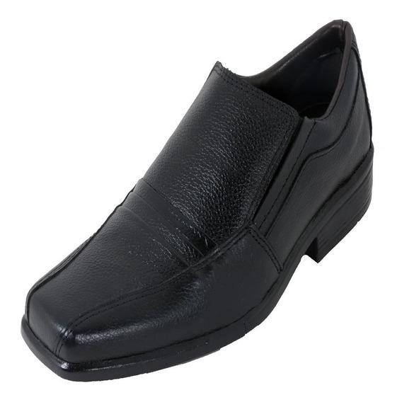 Sapato Social Couro Confort Bertoni Masculino 7600 Preto - Frete Grátis