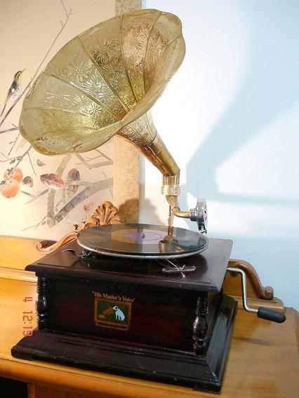 Gramofone Americano A Corda Funcionando Perfeitamente