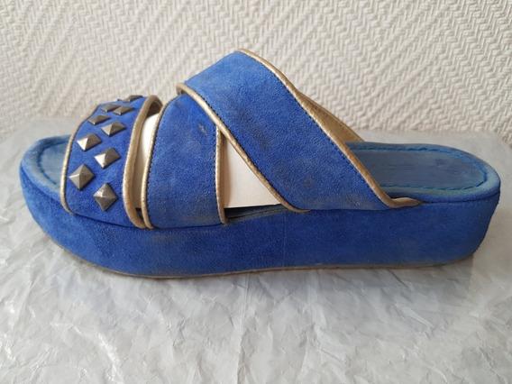 Zandalias Azules Cuero