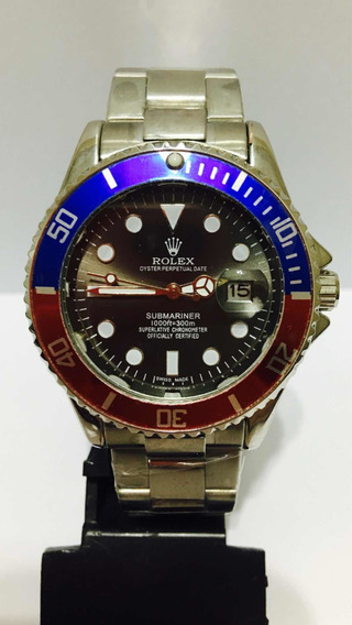 Relógio Submariner Silver Black Com Catraca Mista