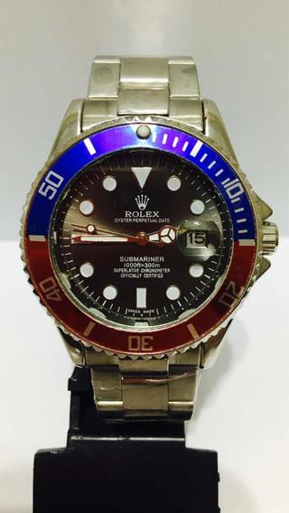Relógio Submariner Silver Black Com Catraca Mista