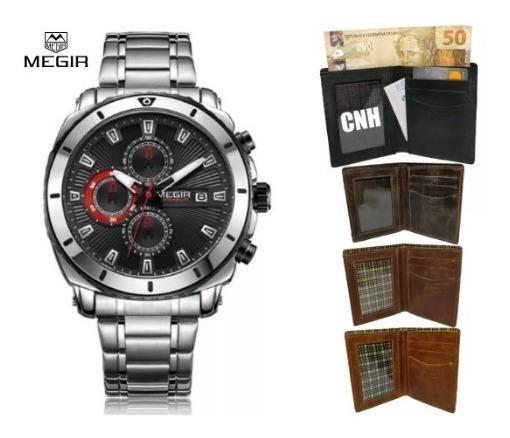 Relógio Masculino Megir Original + Carteira Couro Legítimo
