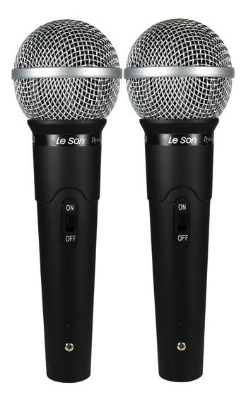 Kit 2 Microfone De Mão Com Fio Leson Ls50 + Cabo P10 Xlr