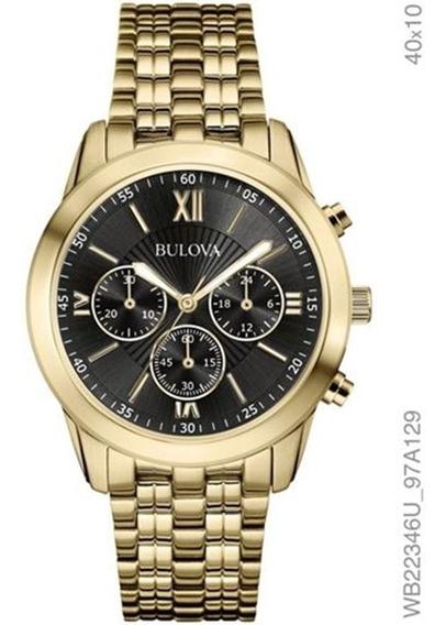 Relógio Bulova Feminino Dourado Fundo Preto Wb22346u
