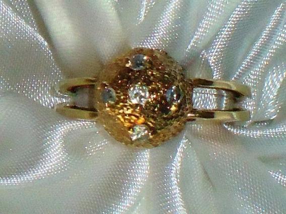 Lindo Anel Art.semi-jóia C/ Banho18k/zircônias,itália,déc.90