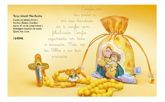 Terço Catolico Infantil Crianças Mãe Rainha Com Saquinho