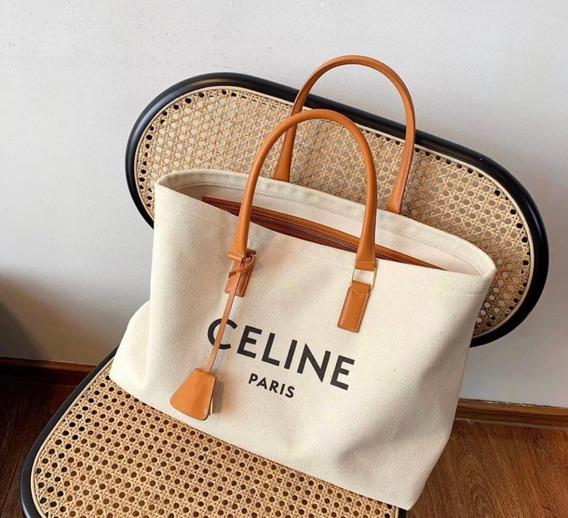 Bolsa Celine Tote Logo 100% Lona Original