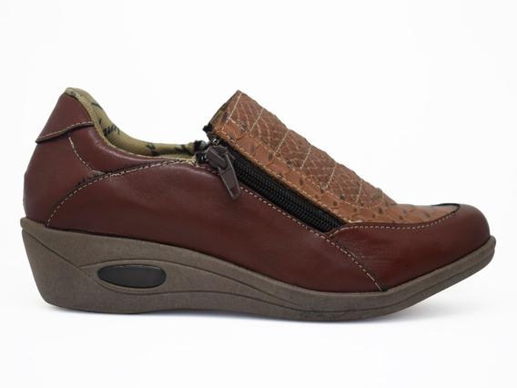 Zapato Doble Cierre De Cuero