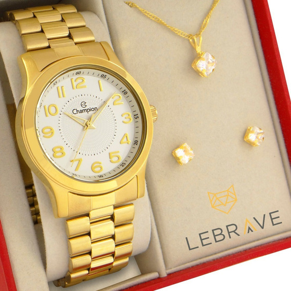 Relógio Champion Feminino Dourado Prova Dágua Garantia 1 Ano