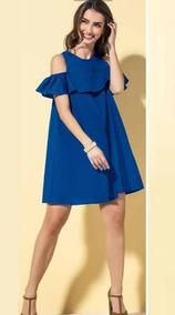 Vestido Sexy Azul Marino, Hombros Descubiertos,holan, Andrea