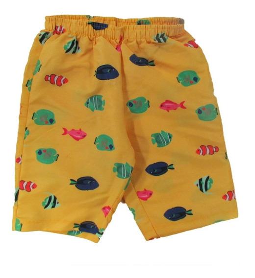 Bermuda Infantil Microfibra Estampada Peixes Amarela - Rovit