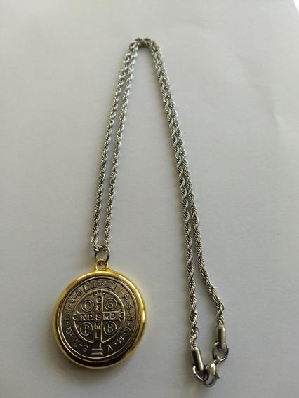 Colar Medalha São Bento Na Corrente Inox (pte=12 Unid)