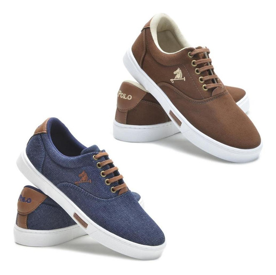 Kit 2 Pares Sapatênis Polo Joy Lona Masculino Casual Confort