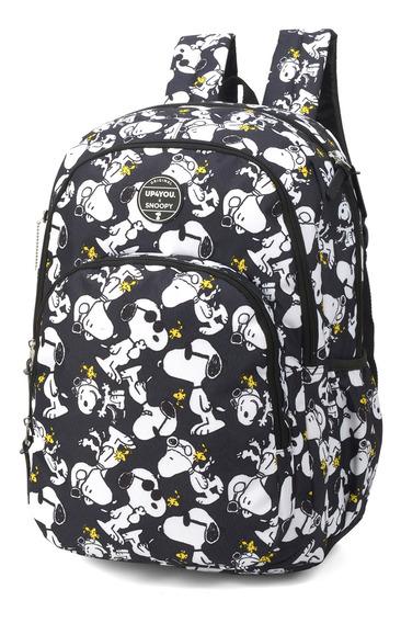 Mochila Escolar Notebook Feminina Snoopy Luxcel 48780sn Pt