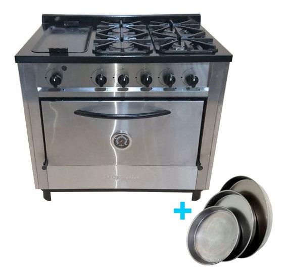 Cocina Industrial Depaolo 4 + Plancha 90 Cm Reja Fund + Mold