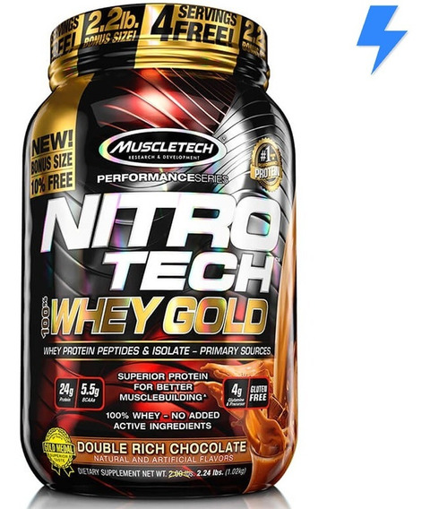 Nitro Tech Gold 1kg - Muscletech - 4g Glutamina P/ Dose!