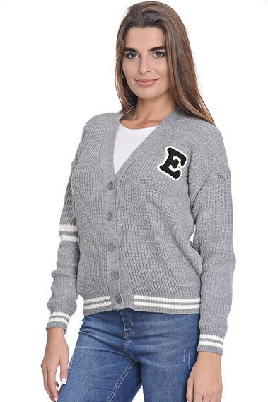 Saco Sweater Pullover Lana Urbano Escote V Mujer Emila