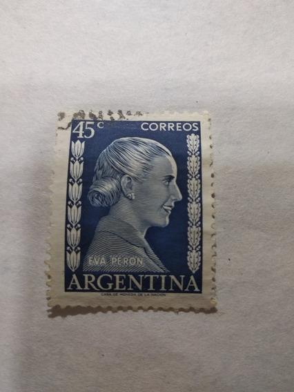 Estampilla Argentina 1952 Eva Perón 45 Centavos.