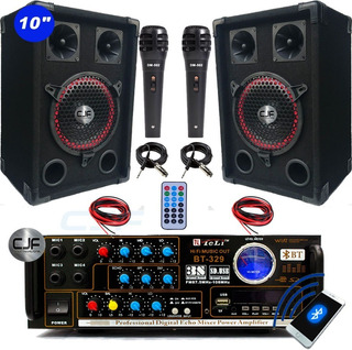 Combo Karaoke Bafles 10+ Consola Usb Sd Fm 4canales+2mic Cjf