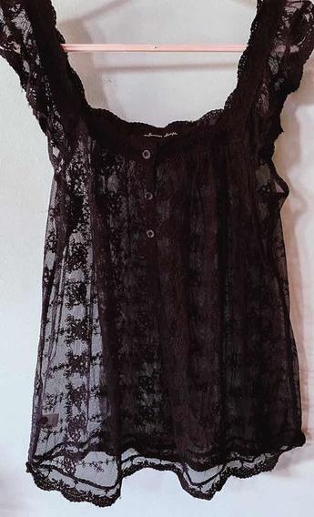 Camisa Negra Mangas Cortas De Encaje Transparente