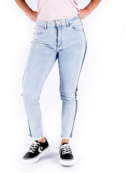 Pantalon Jean Rusty Vintage Straicht Stripes Azul Mujer