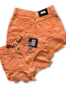 Shorts Jeans Laranja Neon Sal E Pimenta Premium 12x S/ Juros