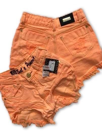 Shorts Jeans Feminino Cintura Alta Rasgado Sem Elastano Novo
