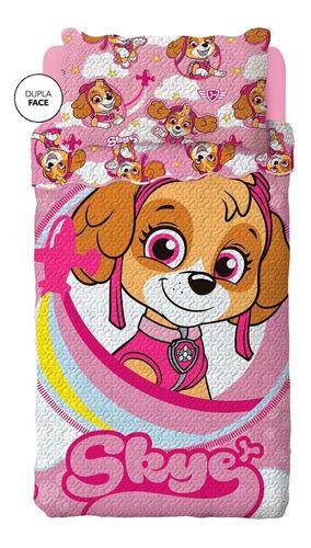 Colcha Bouti Dupla Face Patrulha Canina Rosa 2 - Lepper 2 Pç