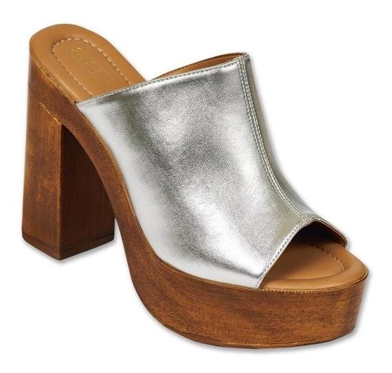 Calzado Dama Mujer Sandalia Plataforma Tipo Piel Plata Comod