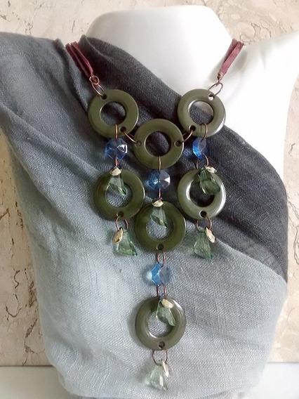 Maxi Colar Bijuteria Verde E Azul