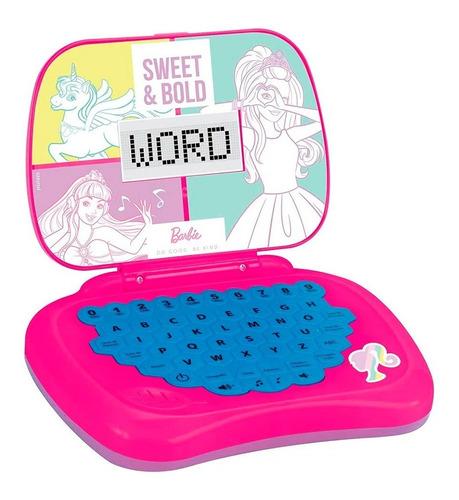 Laptop Infantil Para Crianças Bilíngue Barbie Rosa Candide