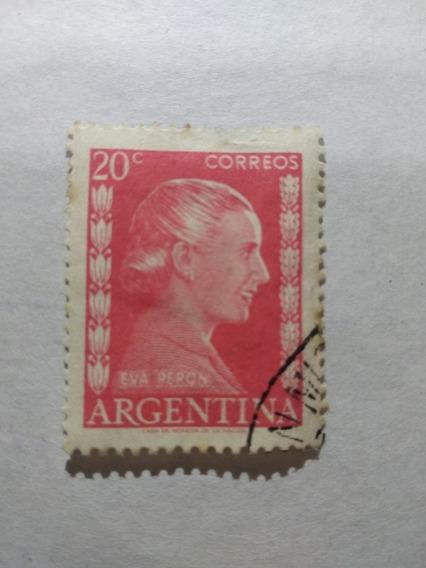 Estampilla Argentina 1952 520 Eva Perón 20 Centavos