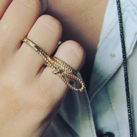 Anel Duplo Laço Dourado Street Style Tumblr Fashion Delicado