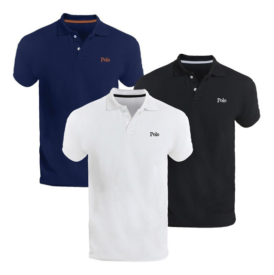 Kit Com Três Camisas Polo Básica Piquet Slim - Polo Match